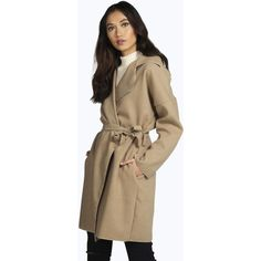 Boohoo Caroline Belted Coat ($35) ❤ liked on Polyvore featuring outerwear, coats, camel, camel wrap coat, brown duster coat, coat with belt, belted camel coat e belted wrap coat