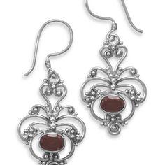 Oxidized ornate garnet earrings