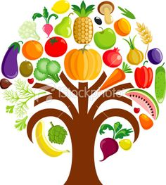 Colorful vegetable tree Royalty Free Stock Vector Art Illustration