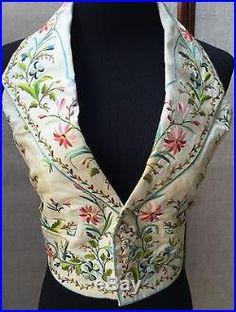 1800s Victorian Silk Embroidered Mens/Womens Waistcoat Vest Textile Art Gorgeous