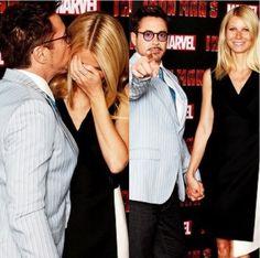 Robert Downey Jr and Gwyneth Paltrow in London promoting Iron Man 3.