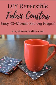 DIY Easy Reversible Fabric Coasters – stay-at-home crafter DIY Easy Reversible Fabric Coasters – stay-at-home crafter,sewing DIY Reversible Fabric Coaster Tutorial: A quick and easy 30 minute DIY sewing project. The perfect project for. Sewing Basics, Sewing Hacks, Sewing Tutorials, Sewing Tips, Sewing Ideas, Dress Tutorials, Sewing Crafts, Diy Crafts, Fabric Coasters
