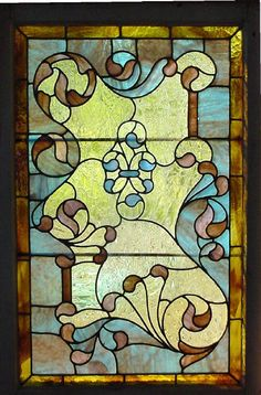 "Antique American Stained Glass Window 25"" x 35"" fid5017"