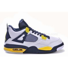 b47c72f4020 Air Jordan 4 (IV) Retro White Blue Yellow 2013 ❤ liked on Polyvore featuring