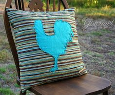 Throw pillow with rooster applique