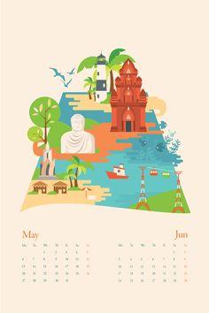 Hanoi to Saigon calendar illustrations