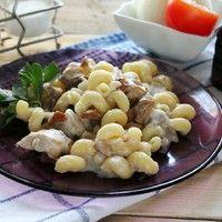 Паста курица с грибами в сливочном соусе