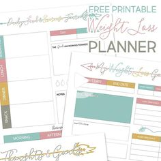 Come on in and get your 12 Page Free Printable Weight Loss Planner! It's perfect for everyone that wants to record their diet process and food life style. It's easy to use.fun and pretty! Sure hope you enjoy. Weight Loss Calendar, Weight Loss Journal, Weight Loss Binder, Diet Planner, Fitness Planner, Workout Planner, Fitness Binder, Arc Planner, Health Planner
