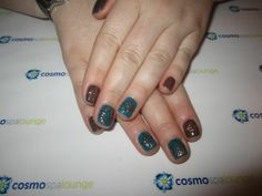 Hand painted foil nail art. #cosmospalounge #nailart #foil #gelish