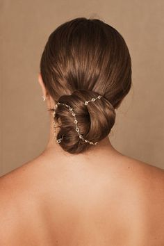 This minimalist bun wrap is dotted with crystals and adds a classic touch to your tresses. Bridal Headpieces, Bridal Hair, Wedding Hairstyles, Cool Hairstyles, Bun Wrap, Honey Colour, Bhldn, French Braid, Wedding Makeup