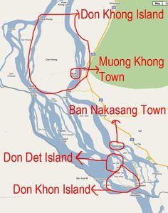 4000 Islands Laos Map (Si Phan Don)
