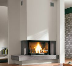 Fireplaces and stoves - Palazzetti Modern Fireplace Decor, Fireplace Art, Family Room Fireplace, Fireplace Remodel, Fireplace Design, Fireplaces, Snug Room, Fireplace Inserts, Great Rooms