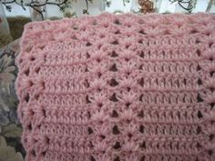 "PINK MOSCATO DOUBLE SHELL : CROCHET (44""x55"") ** The light and lacy look of this pattern makes it perfect for spring and summer.** ~ INTERMEDIATE / ALL FREE CROCHET.COM"
