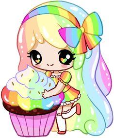 Cupcake with Rainbow Frosting by Silhh on DeviantArt Cute Anime Chibi, Kawaii Chibi, Kawaii Art, Kawaii Anime, Kawaii Doodles, Cute Easy Drawings, Cute Animal Drawings, Cartoon Art, Cute Cartoon