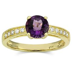 14k Yellow Gold Amethyst and Diamond #Ring from Borsheims for $765