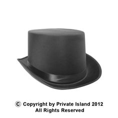 Private Island Party  - Top Hat Black Deluxe Satin 1352, $4.99 (http://privateislandparty.com/products/black-deluxe-satin-top-hat-1352/)