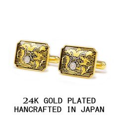 DRAGON GOLD & SILVER LEAF 3 MICRON 24K GOLD PLATED CUFF LINKS MADE IN JAPAN #Handmade
