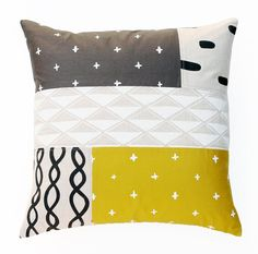 Patterned Patchwork Pillow Cover // Cotton & Flax