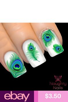 Decal Nail Art Peacock Feather Nail Art Water Decals For Fingernails Delicious In Taste Nail Care, Manicure & Pedicure Health & Beauty Special Section Us Seller