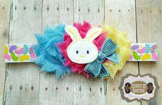Spring Shabby Flower Bunny Headband by CountryQTBowtique on Etsy