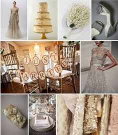 Gold Silver and Ivory Wedding Color Palettes For more ideas visit http://www.weddingcolorthemes.com/top-5-winter-wedding-color-palettes/