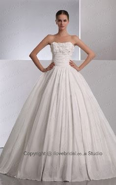 Contracted White Princess Wedding Dress With Vast Appliques