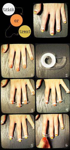40+ Spooky and Creative DIY Halloween Nail Art Ideas --> Candy Corn Manicure