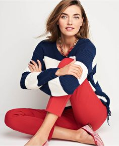 Master cozy and flattering in our nautical-inspired crewneck. In a timeless color combo, and with pretty lace-up side-ties, this feminine sweater is soon to become your new tried-and-true staple.