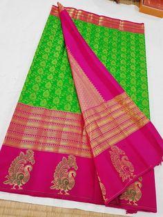 Saree Design Patterns, Pink Saree, Pure Silk Sarees, Indian Sarees, Blouse Designs, House Warming, Blouses, Pure Products, Embroidery