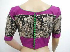 Kalamkari Cotton Saree Blouse, Saree Blouse Neck Designs, Saree Blouse Patterns, Indian Blouse, Indian Wear, Sari Design, Salwar Designs, Blouse Models, Designs For Dresses