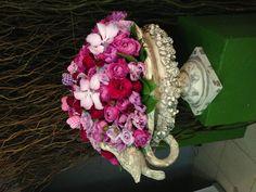 Garden roses and beautiful pot