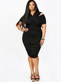 "bacb14e49fbc3 plussizeebony  MARILYN"" RUCHED CONVERTIBLE DRESS - BLACK Anita Marshall  Plus Dresses"