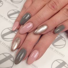 Almond nails in a gorgeous gold, grey and pink color combination...x