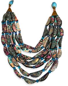 This Cascade necklace by Russia'sTatiana Parshikova (seventh-heaven) is a feast of pattern and color. Eight strands of folded polymer beadsare sumptuous and naturally eye-catching.  Tatiana has added theright mix of colors and patterns, a da [...]