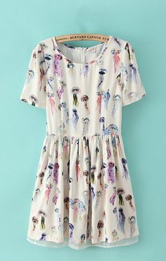 Pastel Jellyfish Printed Chiffon Dress