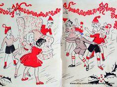 1960s CHRISTMAS SCENE PRINT by sandshoevintageprint on Etsy