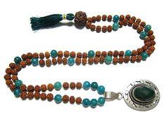 Shanti Mala Prosperity Green Jade Heart Mala Rudraksha Prayer Beads Jade Mala #mogulinteiror