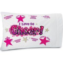 This autograph cheer pillow case would be cute for an end of year party...  wonder if it can be found in different colors since our team is red, blue and white, not pink....hmmmm....  #cheer #cheerleading
