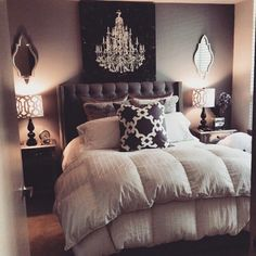 Small bedroom ideas   Chandelier in a smal bedroom.   For more inspirations visit: www.bedroomideas.eu   #bedroomdecoratingideas #bedroomdecoration #bedroomfurnituredesign
