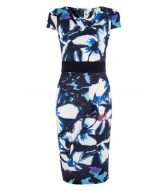 Closet Blue Multi Floral Contrast Tie Waist Dress - Dresses - Clothing