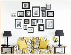 try to get frames with the same finishes or color. It will result in a unified picture arrangement while decorating wall. Another way for an organized and uncluttered picture arrangement on wall is to use the same size mat for all pictures and artwork. Hang the pictures at eye level- about 5 feet high from the floor.