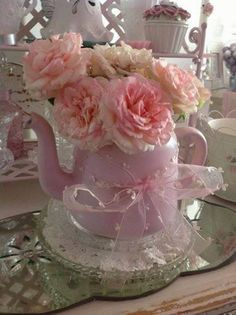 Pink Teapot with Roses