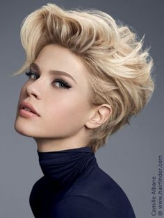 short hairstyle with volume and a turtleneck