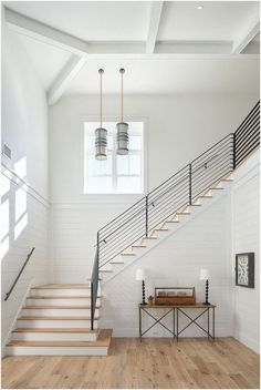 Modern Farmhouse Staircase Surrounded with Shiplap Lots of great modern farmhouse style shiplap ideas to inspire you! Farmhouse Remodel, Farmhouse Interior, Farmhouse Style Kitchen, Modern Farmhouse Kitchens, Modern Farmhouse Decor, Farmhouse Ideas, Modern Decor, Farmhouse Stairs, Farmhouse Contemporary