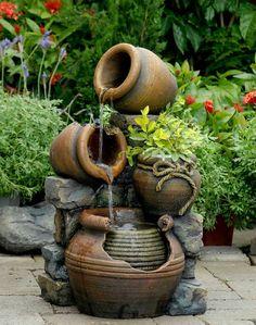 wasserfall im garten klein attraktiv pflanzen