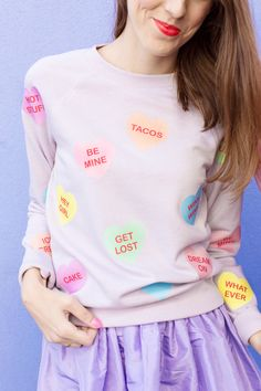DIY Conversation Heart Patterned Sweatshirt