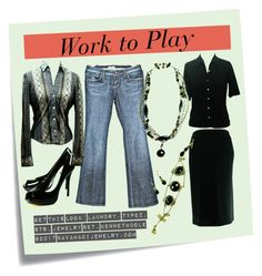 Get This Look: From Work to Play by navahadijewelry on Polyvore featuring Laundry by Shelli Segal, Kenneth Cole, See Thru Soul, Type Z and Post-It