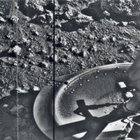 First Photo  20 Jul 1976  NASA's Viking 1 lander made the first of two successful landings on Mars in 1976 and sent back spectacular never-before-seen photographs of the Martian surface. Both Viking 1 and 2 landers were coupled with orbiters that studied Mars from above.