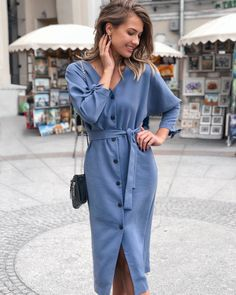 Related posts:Blue dress womenBoots and lovely colored dressThe perfect denim shirt dress Simple Outfits, Classy Outfits, Fall Outfits, Look Fashion, Fashion Outfits, Womens Fashion, Light Blue Dresses, Looks Street Style, Pinterest Fashion
