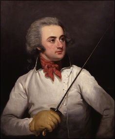 Henry Angelo by Mather Brown. The son of a famous Italian sword master,  Henry Angelo inherited his father's Fencing Academy in Bond Street, London in 1785. It was there, in an atmosphere somewhere between that of a private club and a gymnasium, that many of the famous names of the period, including  Lord Byron, practiced in the shooting gallery and took lessons in fencing and boxing.